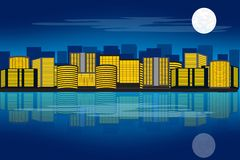 城市他的晚上反映水 向量例证