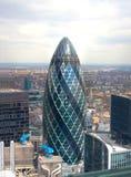 城市伦敦视图 嫩黄瓜大厦 库存照片