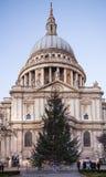 城市伦敦 圣保罗大教堂和红色英国公共汽车在黄昏 库存照片