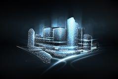 城市低多wireframe 聪明的城市网络、互联网通信和数字交通运输管理系统的概念 库存例证