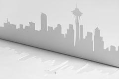 城市保险开关纸张西雅图剪影美国 免版税图库摄影