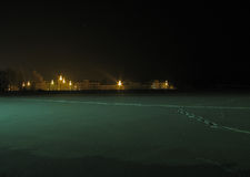 城市光在冬天晚上 免版税库存照片