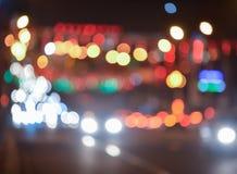 城市光弄脏了bokeh背景 免版税库存照片