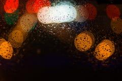 城市光提取在黑背景的圆bokeh 库存照片