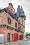 城市克里姆林宫横向晚上被反射的河 法兰克福 历史博物馆 免版税库存图片