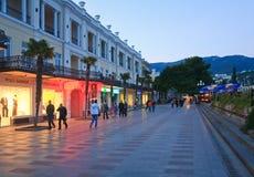 城市克里米亚夜间乌克兰雅尔塔 免版税图库摄影