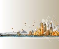 城市全景五颜六色的剪影  免版税库存照片