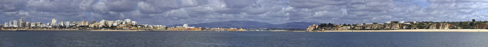 城市全景portimao葡萄牙视图 免版税库存照片