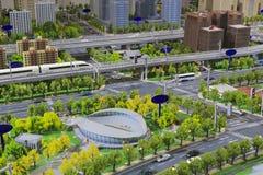 城市公交模型  免版税库存照片