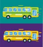 城市公共汽车动画片样式传染媒介象剪影 库存图片