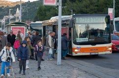城市公共汽车在杜布罗夫尼克 免版税库存照片