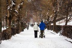 城市公园在冬天 一个年轻家庭步行 妈妈、爸爸和一辆婴儿推车有一个小孩子的 免版税库存图片