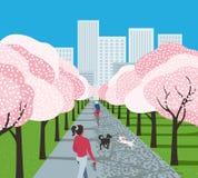 城市公园娱乐活动动画片 向量例证