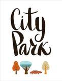 城市公园字法 免版税库存照片