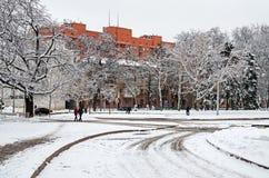 城市冬天街道  免版税库存照片