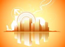 城市减速火箭的向量 免版税库存图片