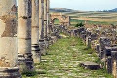 城市列入摩洛哥罗马volubilis 免版税图库摄影