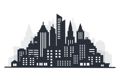 城市剪影土地scape 城市克里姆林宫横向晚上被反射的河 与高摩天大楼的街市风景 全景建筑学政府 免版税库存图片