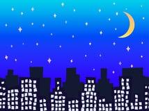 城市剪影在与星无缝的传染媒介例证的晚上 库存图片