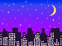 城市剪影在与星无缝的传染媒介例证的晚上 免版税图库摄影