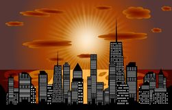 城市剪影的向量例证。 EPS 10。 免版税库存照片