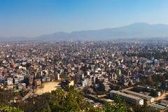 城市加德满都尼泊尔全景 免版税图库摄影