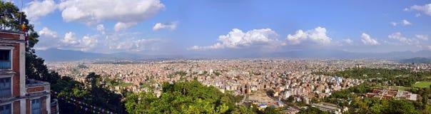 城市加德满都尼泊尔全景 免版税库存照片