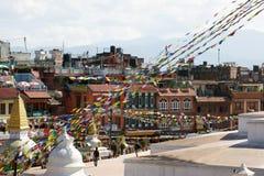 城市加德满都尼泊尔swayambhunath寺庙视图 库存照片