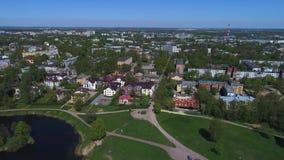 城市加特契纳,好日子全景  列宁格勒地区,俄罗斯空中录影 股票录像