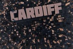 城市加的夫顶视图3D的 免版税图库摄影