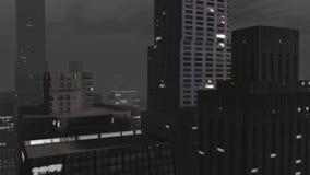 城市动画在从天空看的晚上 向量例证