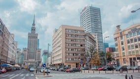 城市华沙和科学的中心的看法有劳动人民文化宫的在华沙,波兰 免版税库存图片