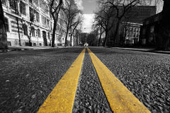 城市双线街道黄色 免版税库存照片