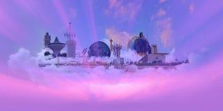 城市吉达地标桃红色天空 免版税图库摄影