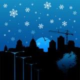 城市向量冬天 库存照片