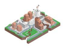 城市命中地震概念3d等轴测图 向量 皇族释放例证