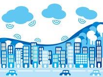 城市和云彩 免版税图库摄影