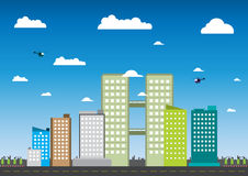 城市和大厦传染媒介例证 免版税图库摄影