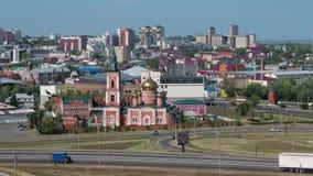 城市和教会,阿尔泰,俄罗斯的城市巴尔瑙尔视图的Timelapse 影视素材