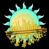 城市和森林有太阳的 库存图片
