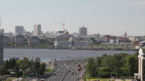 城市和运输水坝的历史的中心 喀山,鞑靼斯坦共和国,俄罗斯 股票录像