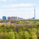 城市和绿色森林在春日 免版税库存照片