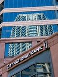 城市国民银行的外部在圣地亚哥 免版税库存照片