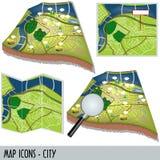 城市图标映射 图库摄影