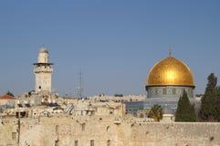 城市圆顶耶路撒冷老岩石 库存照片