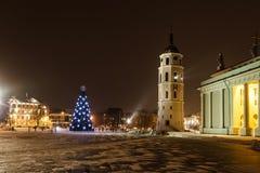 城市圣诞树 免版税图库摄影