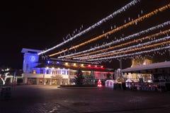 城市圣诞灯夜 免版税库存图片