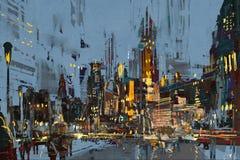 城市在与五颜六色的光的晚上 库存照片
