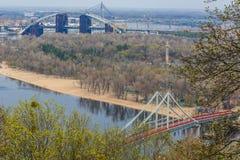 城市在乌克兰 Kyiv r 河Dnieper的全景 库存照片