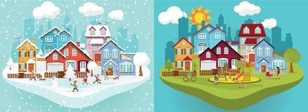 城市在冬天和夏天 向量例证